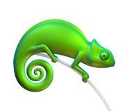 Caméléon vert sur un fond blanc rendu 3d Images libres de droits