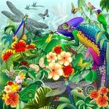 Caméléons chassant, libellules, papillons, coccinelles