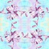 Camélia - flores, botões e folhas - em um fundo da aquarela Imagem de Stock
