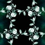 Camélia - flores, botões e folhas - em um fundo da aquarela Fotografia de Stock