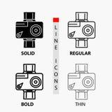 caméra, action, icône numérique, visuelle, de photo dans la ligne et le style minces, réguliers, audacieux de Glyph Illustration  illustration libre de droits