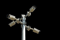 Caméra de sécurité d'isolement sur le fond noir Image stock