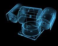 Caméra de sécurité d'isolement sur le noir Images libres de droits