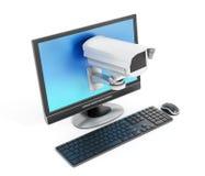 Caméra de sécurité sur l'écran Photographie stock libre de droits
