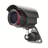 Caméra de sécurité sur le fond blanc. 3D d'isolement Photographie stock libre de droits