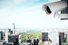 Caméra de sécurité sur le fond contemporain de ville illustration de vecteur