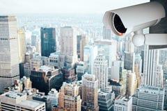 Caméra de sécurité sur le fond moderne de ville illustration stock