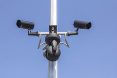 Caméra de sécurité trois Image libre de droits