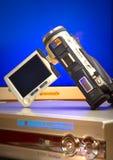 Caméra vidéo avec DVD un joueur photos stock