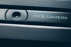 Caméra web intégrée par équipement en ligne de conférence image libre de droits