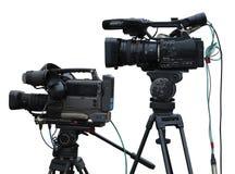 Caméras vidéo numériques de studio professionnel de TV d'isolement sur le blanc Image libre de droits