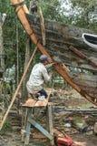 Boat repair on Cam Kim Island Stock Photo