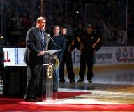 Cam Neely addresses fans Oct 6, 2011. Boston Bruins president Cam Neely addresses the garden faithful during Banner Night at TD Garden, October 6, 2011 Stock Image