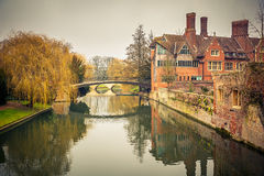 Cam river, Cambridge. Bridge over Cam river, Cambridge University stock image