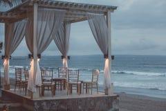 Cama da praia com opinião do mar Fotos de Stock