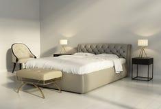 Cama de cuero copetuda elegante en dormitorio elegante contemporáneo imágenes de archivo libres de regalías