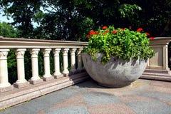 Cama de flor concreta do hemisfério com flores vermelhas imagem de stock royalty free