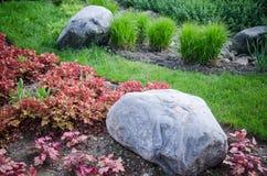 Cama de flor decorativa em um jardim com rochas e plantas Fotografia de Stock