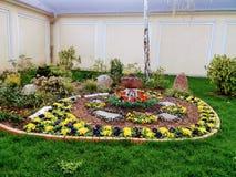 A cama de flor em um canto da cor pastel coloriu paredes Fotografia de Stock Royalty Free
