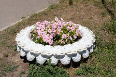 A cama de flores decorativa feitas de uma roda velha do automóvel Fotos de Stock Royalty Free