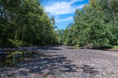 Cama de rio seca foto de stock