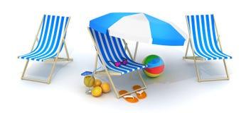 Cama de três praias e guarda-chuva de praia ilustração royalty free