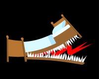 Cama del peligro con los dientes Boca dentada de la cama con los colmillos Vector la enfermedad libre illustration