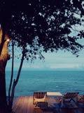 Cama do sol do lado de mar Fotos de Stock Royalty Free