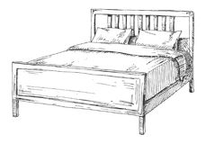 Cama dobro isolada no fundo branco Ilustração do vetor no estilo do esboço fotos de stock