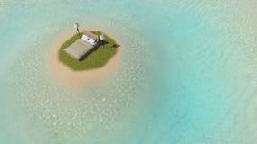 Cama en la isla Stock de ilustración
