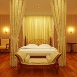 Cama lujosa de la cama imperial Imágenes de archivo libres de regalías