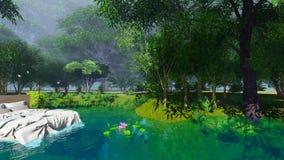 Cama na floresta ilustração stock