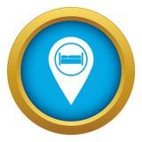 Cama, pensão, vetor azul do ícone do sinal do hotel isolada ilustração royalty free