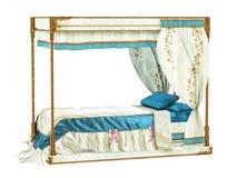 Cama real luxuoso Fotografia de Stock Royalty Free