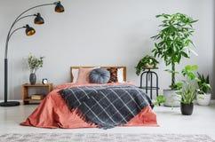 Cama roja con la manta modelada entre la lámpara y las plantas en interior gris del dormitorio imagen de archivo