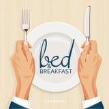 Cama - y - plantilla de la cubierta del menú del desayuno Fotografía de archivo