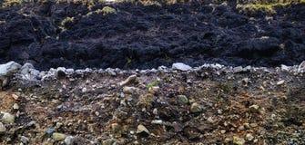 Camada de turfa e camada de cascalho Imagens de Stock