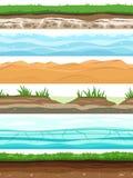 Camadas do solo Campo moeu a grama da terra da superfície secou a água da areia do deserto Grupo sem emenda dos rés do chão ilustração royalty free