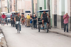 Camaguey city daily scene with bicycles and tricycles-Cuba Stock Images