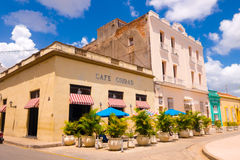 CAMAGUEY, CUBA - SEPTEMBER 4, 2015: Street view of a cafe Royalty Free Stock Photo