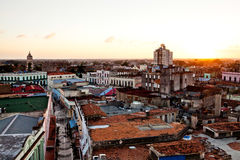 Camaguey UNESCO World Heritage Centre from above. View of the pedestrian street Maceo towards Soledad church. Camaguey, Cuba - December 19, 2016: Camaguey stock photo