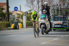 Camaiore, Italy - March 11, 2015: Davide Formolo during a Time Trial Stock Images