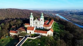 Camaldolese monastery and church in Bielany, Cracow, Poland stock footage