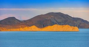 Camaleão do cabo, baía de Koktebel, o Mar Negro, Crimeia Foto de Stock