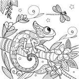 Camaleonte antistress Illustrazione di spazzola cinese dell'inchiostro della lucertola Libellula e stelle Illustrazione di vettor royalty illustrazione gratis