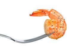 Camarão cozinhado, camarão na forquilha imagens de stock royalty free