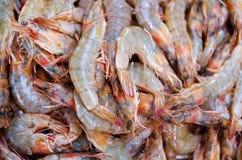 Camarão cru no mercado Fotografia de Stock