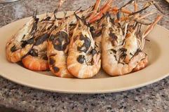 Camarão do alimento de mar grelhado foto de stock