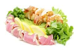 Camarão e atum Imagem de Stock