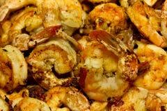 Camarão fritado do alho Fotos de Stock